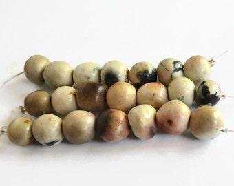 21 smoke fired beads, earthy ceramic beads, 21 earthy organic smoke fired beads from Africa, pitfired beads, 21  Beads, African beads