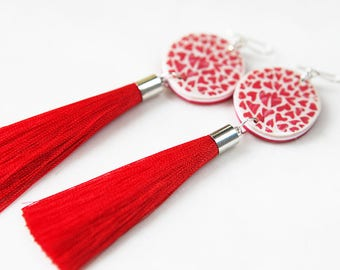 Fabulous Tassel ART Earrings - RED Hearts Valentine - Next Romance Jewels Melbourne Australia