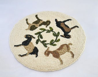 """Goat Go Round Finished Hooked Rug Chair Pad - 12"""""""