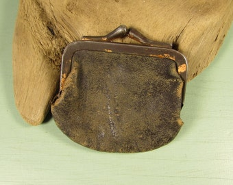 Brown Leather Coin Purse - Vintage Small Kiss Lock Closure
