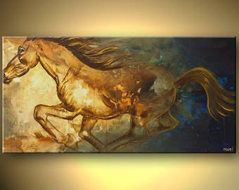 Horse Canvas Print - Stretched, Embellished & Ready-to-Hang  - Pegasus - Art by Osnat