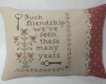 Friend Pillow Cross Stitch Accent Pillow