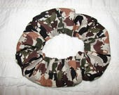 Cats Felines brown green silhouettes handmade camo Fabric Hair Scrunchie, womans scrunchies, cat lovers gifts, women's accessories, her