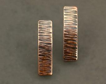 Hammered Copper Bar Earrings, Post Earrings, Hammered Lines, Stick Earrings, Hammered Copper Earrings, Hammered Earrings