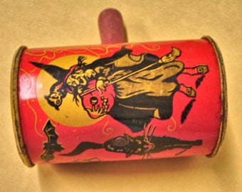 1950s Halloween Noise Maker Tin Litho Witch-Bats-Black Cat- Vintage Halloween Noise Maker