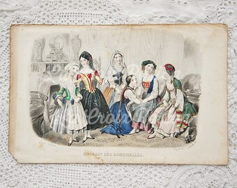 Antique French fashion plate, antique engraving, vintage book plate, fashion illustration, hand tinted, hand colored, ORIGINAL 1800s, No. 10