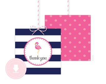 INSTANT DOWNLOAD Flamingo Favor Tag (Flamingo Birthday, Flamingo Baby Shower, Printable Flamingo Favor Tag, Navy Flamingo)