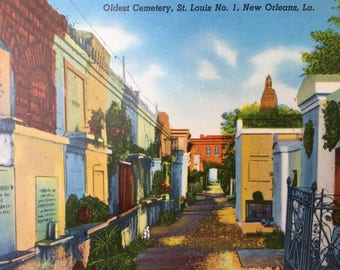 Vintage Postcard: Oldest Cemetery in New Orleans