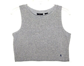 Vintage 90s LIMITED Heather Gray Terrycloth Sleeveless Crop Top- Size M