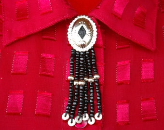 Concho Button Cover Silver and Black Beaded Southwestern Rocker Cowgirl Jewelry