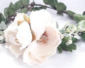 The Magnolia Flower Crown/ Natural Flower Crown/ Boho Bridal Headpiece/ Rustic Wedding Flower Crown/ Flower Wreath/Photo Prop