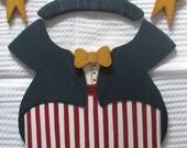 Uncle Sam Tuxedo, Patriotic, 4th of July, seasonal bear, seasonal,  welcome bear, wall hanging, door hanging,