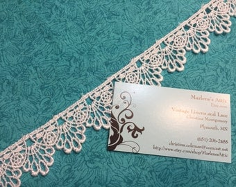 White Venise lace, 1 yard of  1 1/4 inch White venise lace trim for wedding, bridal, jewelry, couture by MarlenesAttic - Item 8VV