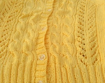 Yellow cotton cable and lace cardigan size12