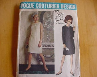 Vintage 1960s Vogue Couturier Design Pattern 1876, Misses One Piece Slim Dress, Designer Sybil Connolly of Dublin, Size 14, Bust 36