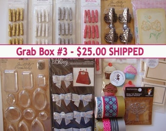 DESTASH,Grab Box,Scrapbooking Supplies,Card making supplies,Tim Holtz embellishments, stamping supplies, Mini scrapbook, Mini album