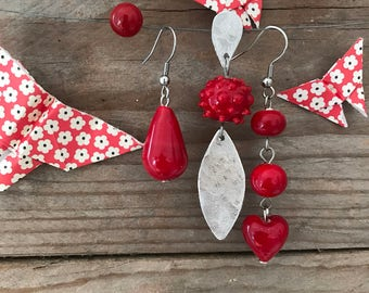 Red handblown glass set of four earrings