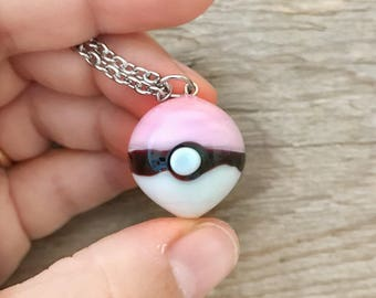 pink pokeball glass pendant - made to order
