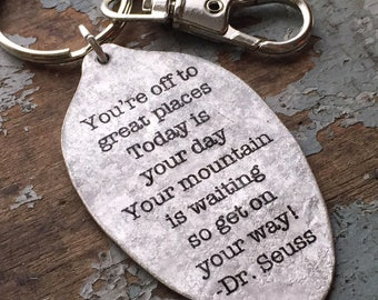 Dr. Seuss Oh the Places You'll Go Keychain, You're off to great places, today is your day Dr. Seuss,Congratulations Keychain,Going away gift