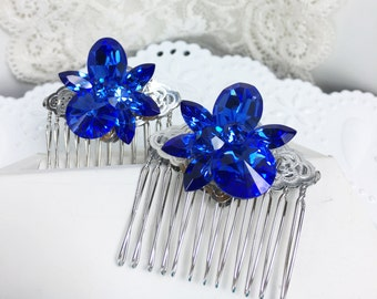 Beautiful Hair Combs, Adorned with Vintage Gorgeous Blue Earrings ~ Silver Tone Base ~ Quality Combs ~ Something Blue for your Wedding~