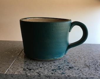 Blue Green Coffee Mug, Tea Coffee Cup Clay Ceramic Blue Green Rustic Teal