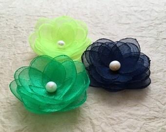 Navy blue emerald green hair flowers, neon green organza flower, bridal accessories, bridesmaid hair clip, shoe clips, sew on ornament