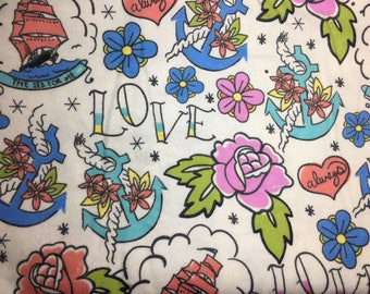 Two Yards Fabric Tattoo Sailor Print Flannel Print Fabric Flash Tattoo Love Roses