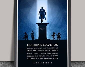 Superman Poster.Superheroes Minimalist .Superman Superhero Typography,Heroes Illustrations,Wall art,Christmas Gift,Comic  Gift, Hero Quote