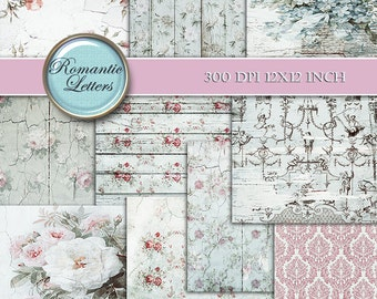 Floral Digital Scrapbook Paper pack Shabby Chic digital paper wedding photography background vintage rose flower digital paper Shabby chic