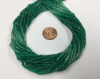Shaded Green Onyx Rondelles Faceted