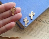 3pcs Gold Spiky Cactus Charms Dainty 20mm (GC3226)