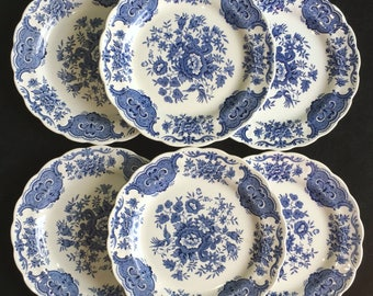 """Ridgway """"Windsor"""" Blue Staffordshire England 6-7/8"""" Dessert/Pie Plates (Set of Six) in Excellent Condition"""