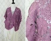 Vintage 1990s Crochet Cardigan - crochet motif short sweater top - open bolero cardigan - Mori Girl Sweater - ladies medium to Xlarge