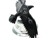 Leather Raven Barrette, SMALL Handmade Raven Stick Barrette, Black Crow Hair Decor - MADE To ORDER