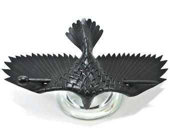 Leather Raven Barrette, LARGE Handmade Raven Stick Barrette, Black Crow Hair Decor MADE To ORDER