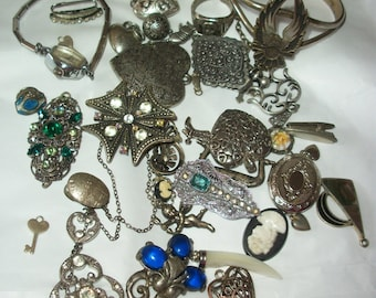 Charms ~ Pendants ~ Rings ~ Bracelet ~ Antique to Vintage ~ Nifty Lil Collection ~ Jewelry Assemblage Lot / Mixed Materials ~