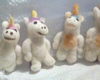 ONE individual needle felted unicorn doll