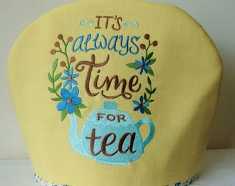 Yellow embroidered fabric Tea Cosy, Tea Cozy, Time for Tea.