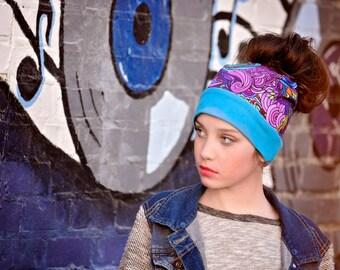 Messy Bun hat - Messy bun beanie - Messy hair hat - Pony tail hat - Winter Hat - Sea Swirl - Active Wear - Running Gear - Trendy