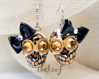 Skulls earrings stone day of the dead skulls Leopard