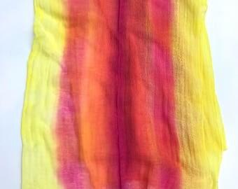 Hand Dyed Cotton Gauze Fabric - Handmade Fiber Art Supplies Fuchsia, Pink and Yellow.