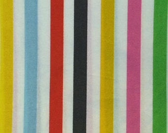 Cotton Fabric / Striped Cotton Fabric / Rainbow Stripe Cotton Fabric / Quilting Fabric / Vintage Cotton Fabric / Quilt Back Fabric