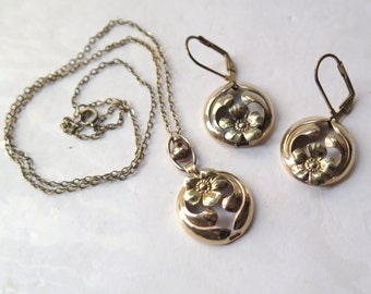 Gold Filled Art Nouveau Necklace Earrings Set 12K GF Providence Stock Co Early 20th Century Floral Design Pierced Screwback Wedding Gift