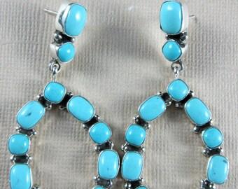 Navajo~Carol Wylie~Sleeping Beauty Turquoise~Tear Drop Hoop~925 Earrings