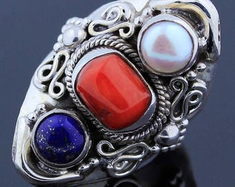 Handmade Huge Natural Coral Pearl Lapis lazuli 925 Sterling Silver Ring Size 7.5 Jewelry - R96
