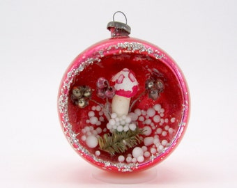 1950s Christmas Decoration Vintage Glass Diorama Mushroom Scene Christmas Ornament Red Holiday Bauble