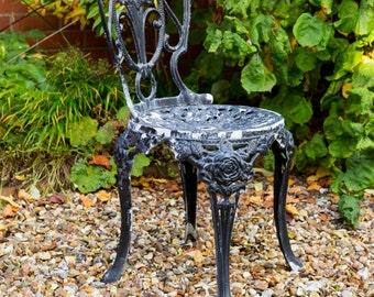 Vintage Garden Chair, pretty floral design, cast metal, metal, french bistro style, lightweight