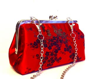 "Red Evening Clutch Bag , 8 X 5 X 2.5 with 26"" Chain Handle"