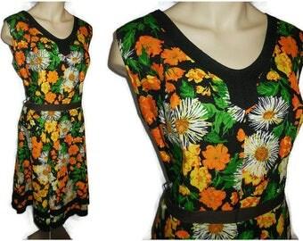 Vintage 1950s 60s Dress Bright Floral Print Summer Dress Full Skirt Black Orange Yellow Flowers Sundress Rockabilly Boho L XL chest to 44 in