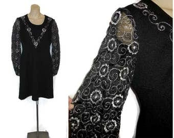 SALE Vintage 1960s 70s Black Dress Sheer Black Silver Embroidered Sleeves 70s Babydoll Minidress Silver  Flowers M L chest to 44 in